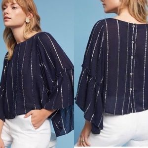 Floreat Anthropologie Emelyn Blouse Silver Striped